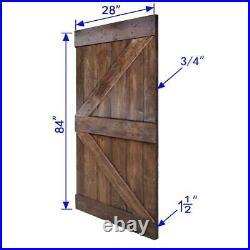 Barn Door Slab Hardware Kit 28 in. X 84 in. Pine Wood Sliding Dark Walnut Finish