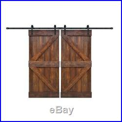 Barn Door Slab Hardware Kit 72 in. X 84 in. Double Wood Sliding Dark Walnut
