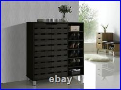 Baxton Studio 2-Door Shoe Cabinet with Open Shelves, Dark Brown