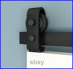 Bi-Folding Sliding Barn Door Hardware, Black Flat Track Top Mount Roller Kit