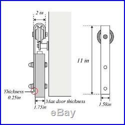 Black 7FT Track for Sliding Wood Barn Door Hardware Kit for Closet Single Door