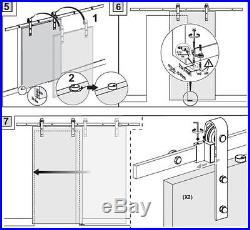 Black Big Vintage Strap Industrial WHEEL Sliding Barn Door Hardware Kit