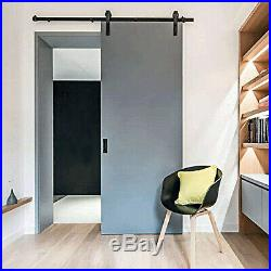 Black Solid Alloy Sliding Rolling Barn Door Hardware Kit for Single Wood Doors
