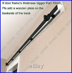 Black top mount double sliding barn door cabinet TV wall barn door hardware