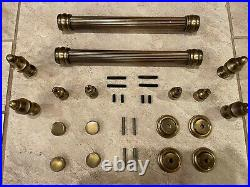 Brass Door Pulls (pair) with Trim and Mounting Hardware Excellent Condition
