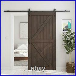 Brown 42in x 84in Sliding Barn Door with 7ft Barn Door Hardware Kit & Handle