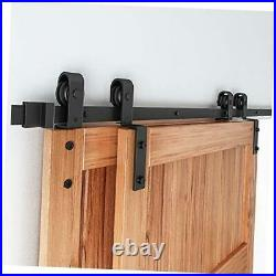 Bypass Double Sliding Barn Door Hardware Kit, Single Track Fit Double 40 6.6FT