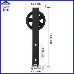 Bypass Sliding Barn Door Hardware Roller Flat Rail Track Kit Carbon Steel Black