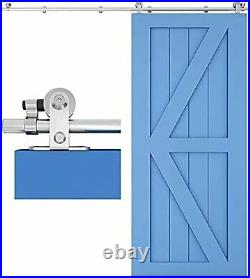 CCJH 152CM/5FT Stainless Steel Sliding Barn Door Hardware Kit Track Roller Close