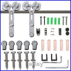 CCJH 4-16FT Stainless Steel Sliding Barn Door Hardware Track Kit, Single/Double
