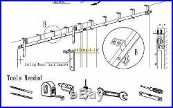 CCJH 4-16FT Top Ceiling Mount Bracket Sliding Barn Door Hardware Single/Double