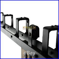CCJH 4-20FT Sliding Barn Wood Door Hardware Closet Track Kit For Bypass 2 Doors