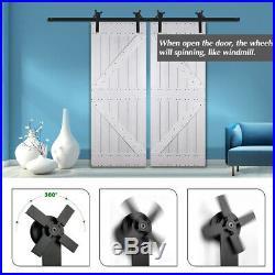 CCJH 4-20FT Sliding Barn Wood Door Hardware Track Kit Single/Double, New Shape