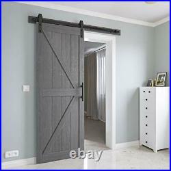 COSHOMER 30in x 84in MDF Sliding Barn Door with 5ft Barn Door Hardware Kit &