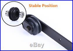 D03 6 FT Black Antique Style Steel Sliding Barn Wood Door Hardware Track Kit
