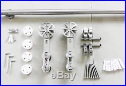 DIYHD 5ft-13ft Stainless steel rotatable spoke wheel sliding barn door hardware