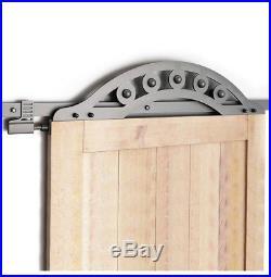 DIYHD 6FT Wrought Iron One Piece Fan-shaped Roller Sliding Barn Door Hardware