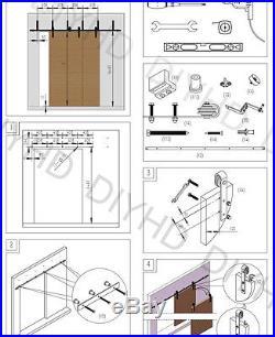 DIYHD 8FT Rustic black bypass sliding barn door hardware to hang 4 bypass doors