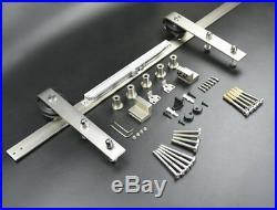 DIYHD 8FT Soft Closing Brushed Nickel Sliding Barn Door Hardware Two-side soft