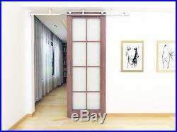 DIYHD 8FT ceiling mount stainless steel sliding barn wood door hardware