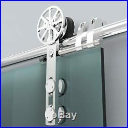 DIYHD Brushed Decorative Movable Spoke Wheel Sliding Glass Barn Door Hardware