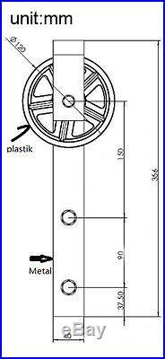 DIYHD Brushed Nickel Industrial Spoke Wheel Steel Sliding Barn Door Hardware
