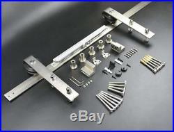 DIYHD Brushed Nickel Sliding Barn Door Hardware Two-Side Soft Closing Mechanism