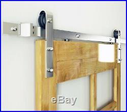 DIYHD Brushed Nickel Steel Sliding Barn Wood Door Track Hardware