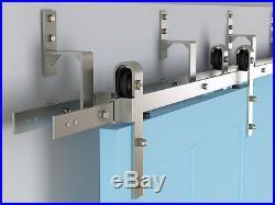 DIYHD Brushed nickel one piece easy mount bypass sliding barn door hardware