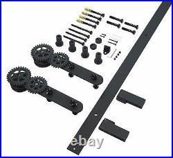 DIYHD Long Strap Twin Gear Roller Sliding Barn Door Track Hardware Kit