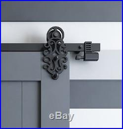 DIYHD Ornate Cut Black Sliding Barn Door Hardware With Spring-in Soft Close Stop