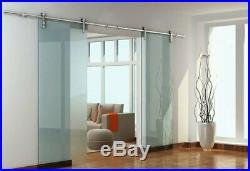 DIYHD Stainless Steel Glass Sliding Door Hardware Barn Glass Track Kit