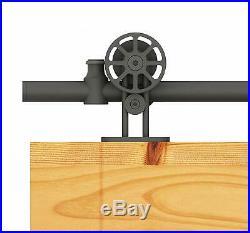 DIYHD Top Mount Black Spoke Wheel Sliding Barn Wood Door Hardware Kit