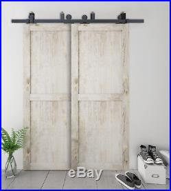 DIYHD Top Mount Bypass Doubke Sliding Barn Door Hardware Kit For Low Ceiling