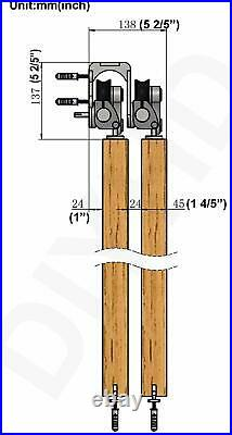 DIYHD Top Mount Bypass Sliding Barn Wood Door Track Kit, Stainless Steel