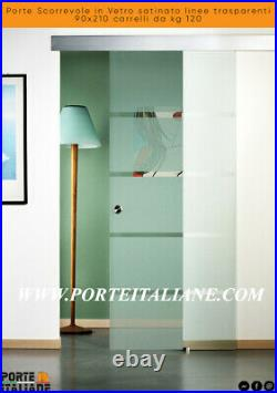 Doors Sliding Glass Satin Lines Clear 90x210 Trolleys From KG 120
