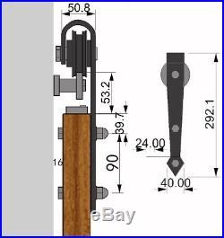 Double Arrow Shape Sliding Barn Door Hardware Track Kit 6.6/8/10/12 FT
