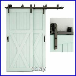 (Double Track) Bypass Sliding Barn Door Hardware Closet Track Kit for 2 Doors