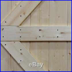 Double Unfinished Knotty Pine Barn Door with Sliding Door Hardware Kit