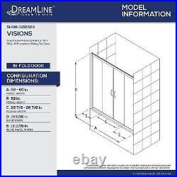 DreamLine SHDR-1160586-04 Visions 56 60 Sliding Tub Door, Nickel