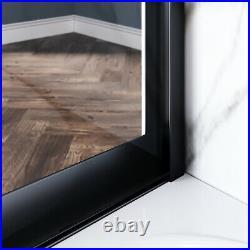 ELEGANT 60W x 57H Bathtub Sliding Shower Door 1/4 Clear Glass Black Hardware