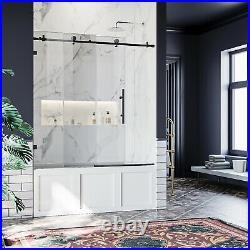ELEGANT 60 x 62 Frameless Sliding Shower Tub Door Black Hardware Stainless Steel
