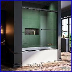 ELEGANT 60'' x 62 Semi-Frameless Sliding Shower Tub Door Bypass Black hardware