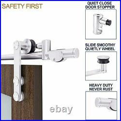 EaseLife 10 FT Stainless Steel Double Sliding Barn Door Hardware Track Kit, Heavy
