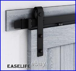 EaseLife 12 FT Double Door Sliding Barn Door Hardware Kit, Heavy Duty, Ultra Hard