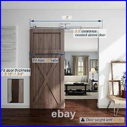 EaseLife 5 FT Top Mount Modern Sliding Barn Door Hardware Track Kit, Stainless
