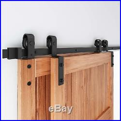 EaseLife 6.6FT Bypass Double Sliding Barn Door Hardware Kit, Single Track Fit 40