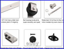 EaseLife 6 FT Heavy Duty Brushed Nickel Sliding Barn Door Hardware Track Kit, Mod