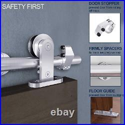 EaseLife 6 FT Modern Stainless Steel Sliding Barn Door Hardware Track Kit, Top Mo