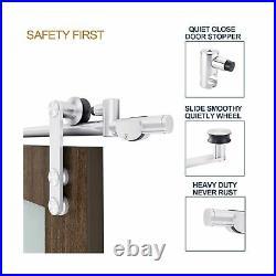 EaseLife 8 FT Stainless Steel Sliding Barn Door Hardware Track Kit Heavy Duty